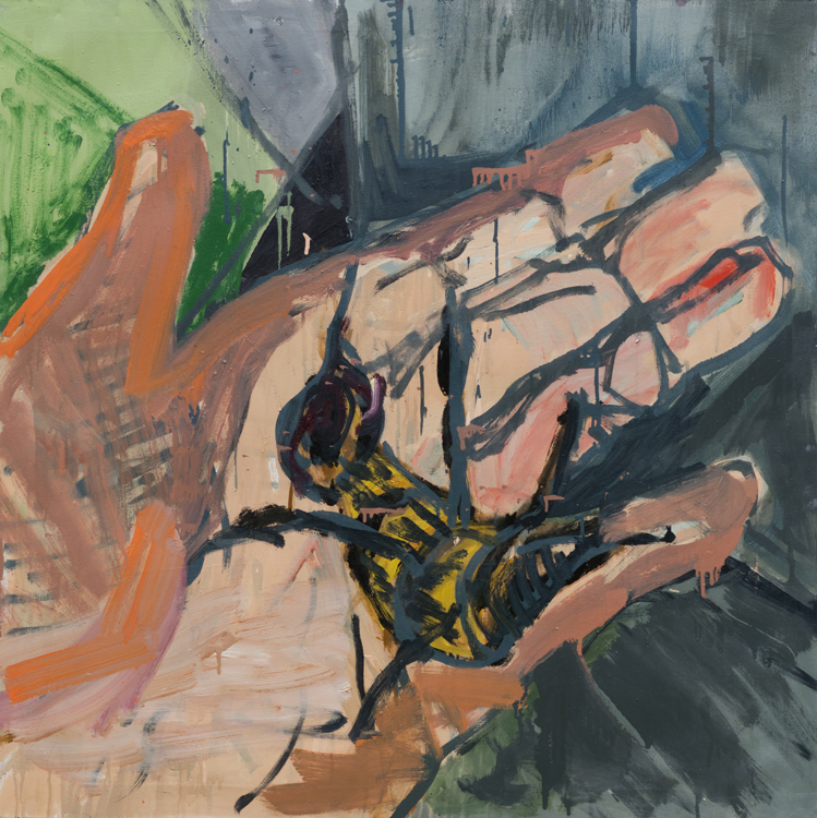 Death Bee, 118x118cm, oil and enamel on canvas, 2020