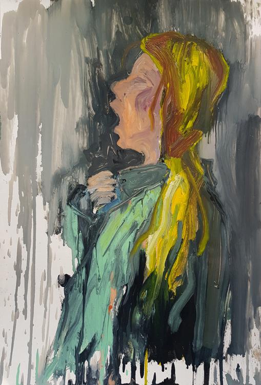 Eating Sun, 80x85cm, oil and enamel on canvas, 2020