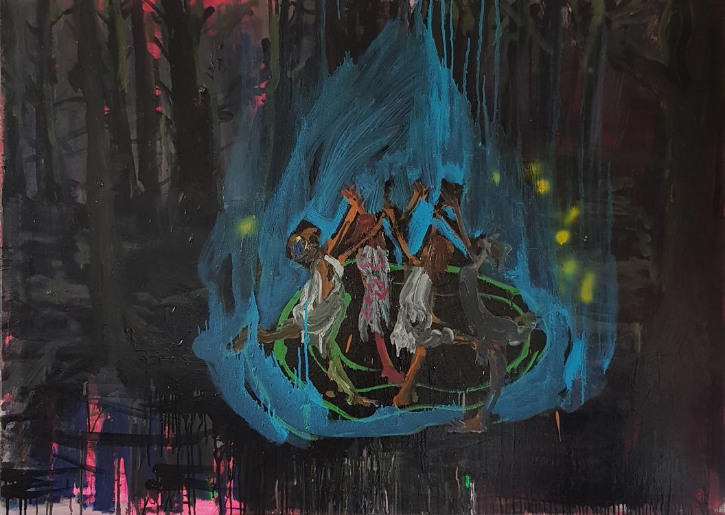 Pray For Rain, 140x100cm, oil and enamel on canvas, 2020